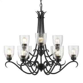 Parrish 9 Light Chandelier in Black with Seeded Glass