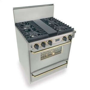 "Five Star30"" All Gas, Convect, Sealed Burners, Stainless Steel with Brass"