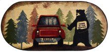 """Cozy Cabin Hitchhiking Bear 20""""x44"""" Oval"""