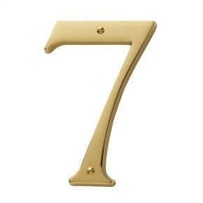 Lifetime Polished Brass House Number - 7