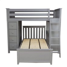 All in One Loft Bed Storage Study   Twin Bed Grey