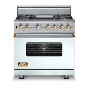 "36"" Custom Sealed Burner Dual Fuel Range, Propane Gas, Brass Accent"