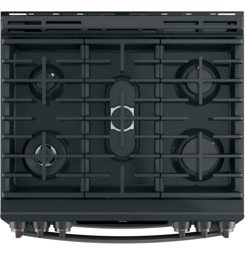 """GE Profile Series 30"""" Slide-In Front Control Gas Double Oven Convection Range"""