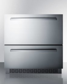 """30"""" Wide Two-drawer Refrigerator for Built-in or Freestanding Use, With Stainless Steel Drawers and Black Cabinet"""