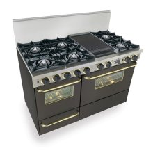 """48"""" Dual Fuel, Convect, Self Clean, Open Burners, Black with Brass"""