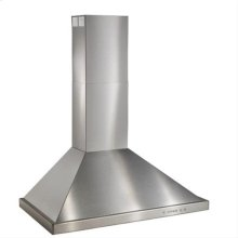 """30"""" Brushed Stainless Steel Wall Mount Chimney Hood with Internal 600 CFM Blower"""