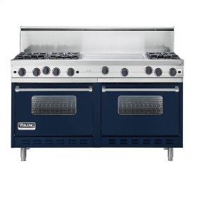"Viking Blue 60"" Open Burner Commercial Depth Range - VGRC (60"" wide, six burners 24"" wide griddle/simmer plate)"