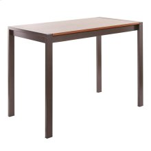 Fuji Counter Table - Antique Metal, Walnut Wood