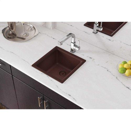 "Elkay Quartz Classic 15-3/4"" x 15-3/4"" x 7-11/16"", Single Bowl Dual Mount Bar Sink, Pecan"