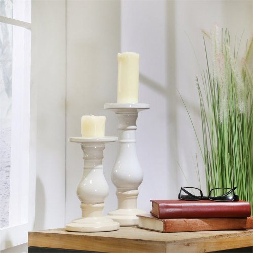 "Ceramic 11"" Candle Holder, Whie / Beige"