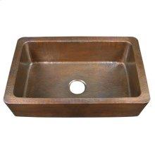 Delta Single Bowl Farmhouse Apron Sink - Hammered Antique Copper