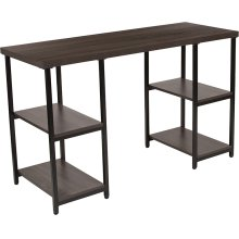 Homewood Collection Driftwood Finish Console Table with Black Metal Frame