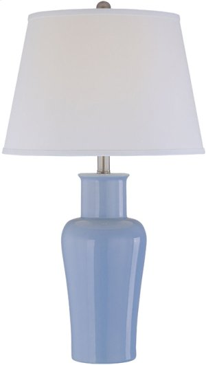 Ceramic Table Lamp, L/blu/off/white Fabric Shd, E27 A 150w