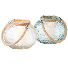 Large Circle Glass Votive Holder with Rope Handle (2 asstd).