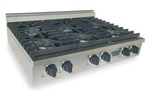 "36"" Six Burner Gas Cooktop, Sealed Burners, Stainless Steel"