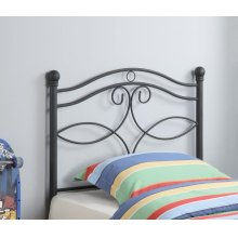 Transitional Black Metal Twin Headboard