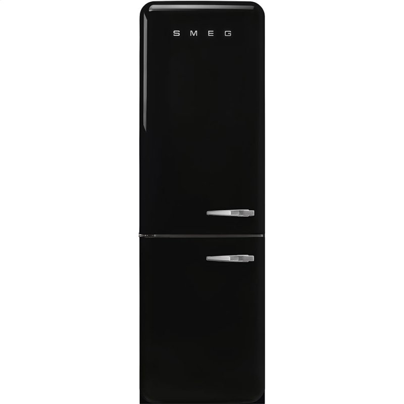 "'50s Style No Frost' Fridge-Freezer, Black, Left Hand Hinge, 60 cm (Approx 24"")"