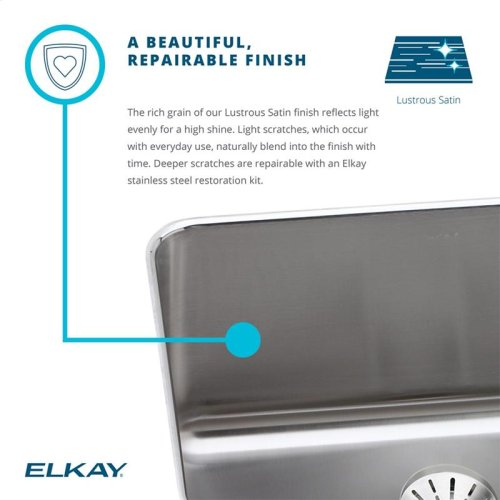 "Elkay Lustertone Classic Stainless Steel 15"" x 15"" x 7-1/8"", Single Bowl Drop-in Bar Sink + Faucet Kit"