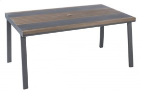 "Copenhagen 67"" Rect. Alum. / Polywood Dining Table w/ umb. hole"