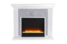 47.5 in. Crystal mirrored mantle with crystal insert fireplace