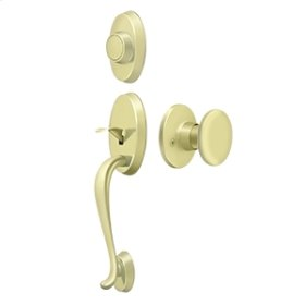 Riversdale Handleset with Flat Round Knob Dummy - Polished Brass