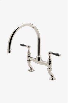 Easton Vintage Two Hole Bridge Gooseneck Kitchen Faucet, Black Porcelain Lever Handles STYLE: EAKM14
