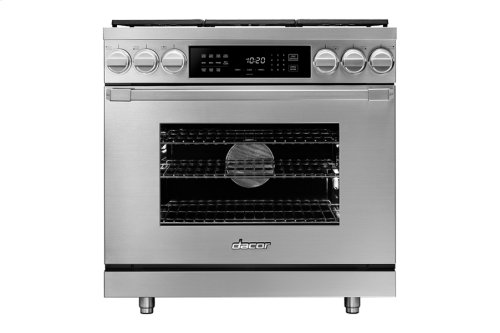 """36"""" Heritage Dual Fuel Pro Range, Silver Stainless Steel, Natural Gas/High Alttitude"""