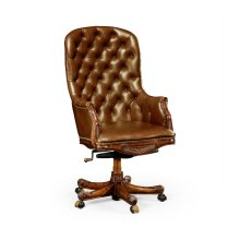 Chesterfield Style High Back Mahogany Office Chair, Upholstered in Antique Chestnut Leather