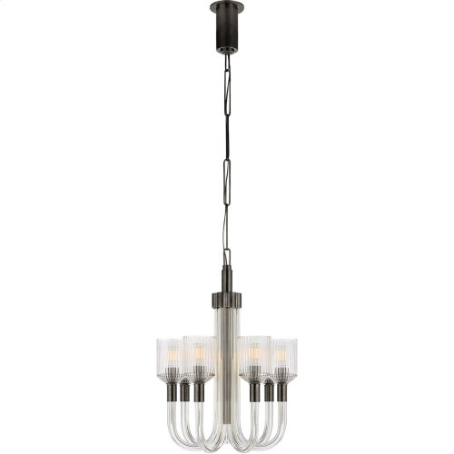 Visual Comfort KW5400CRB/BZ Kelly Wearstler Reverie 7 Light 18 inch Clear Ribbed Glass and Bronze Chandelier Ceiling Light