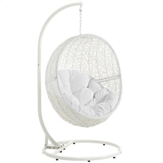 Hide Outdoor Patio Swing Chair With Stand in White