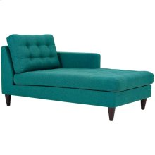 Empress Right-Arm Upholstered Fabric Chaise in Teal
