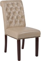 HERCULES Series Beige Leather Parsons Chair with Rolled Back, Nail Head Trim and Walnut Finish Product Image