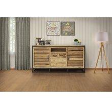 4 Drawer & 2 Doors TV Stand, w/ Iron base