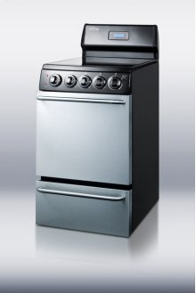 "20"" wide electric range with stainless steel doors, black cabinet, smooth ceramic glass burners, towel bar handles and deluxe backguard"