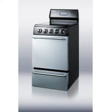 """20"""" wide electric range with stainless steel doors, black cabinet, smooth ceramic glass burners, towel bar handles and deluxe backguard"""