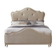 Reece Upholstered California King Footboard and Slats in Champagne Beige