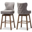 Baxton Studio Gradisca Modern and Contemporary Brown Wood Finishing and Grey Fabric Button-Tufted Upholstered Swivel Barstool Product Image