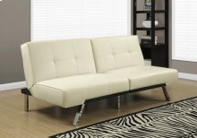 FUTON - SPLIT BACK CONVERTIBLE SOFA / IVORY LEATHER-LOOK