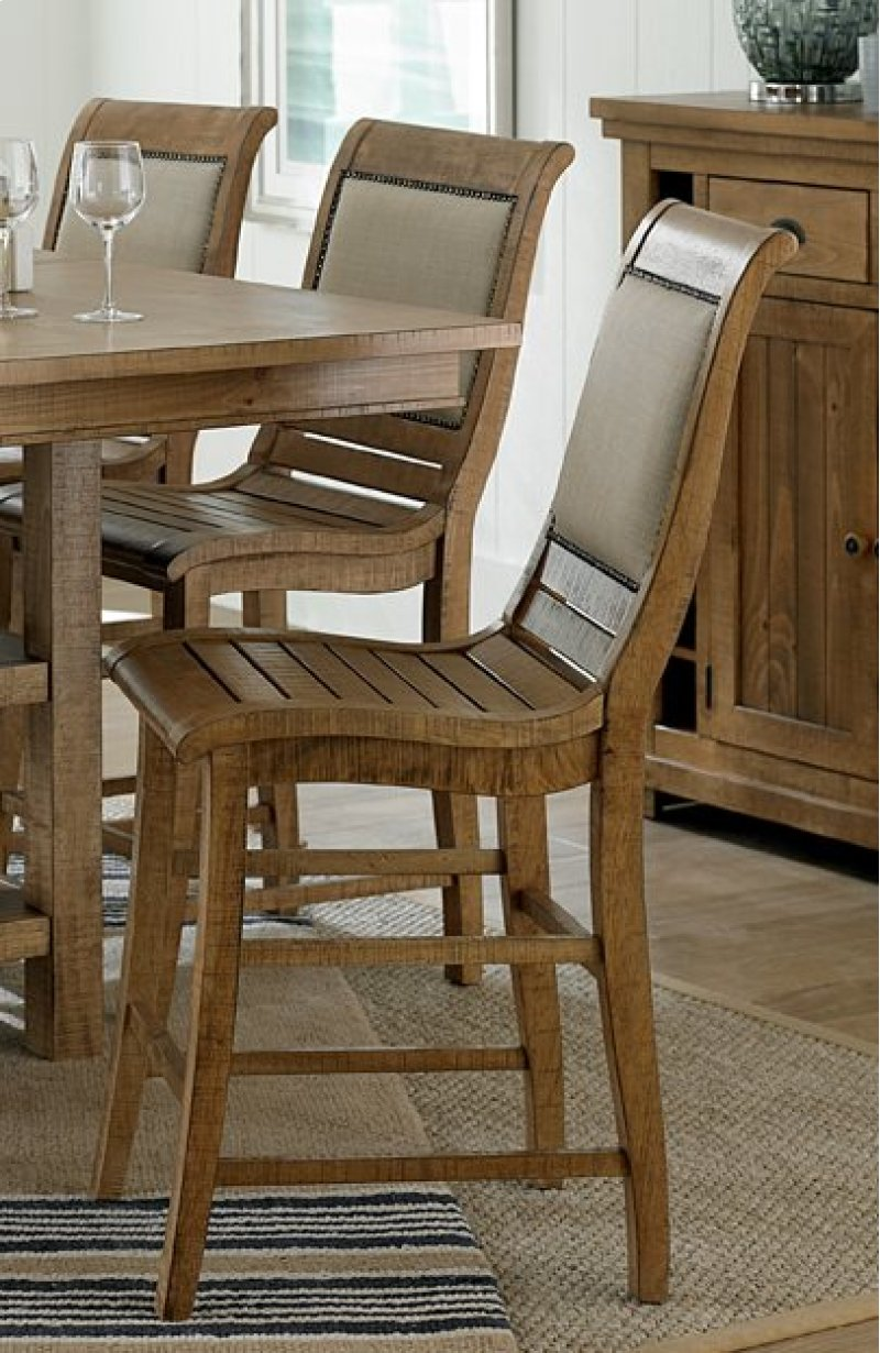 Upholstered chair distressed pine finish