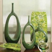 Open Oval Ring Vase-Emerald-Lg