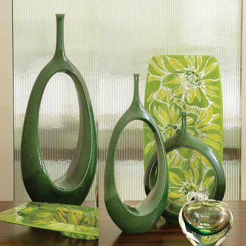 Open Oval Ring Vase-Emerald-Med