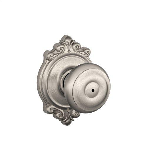 Georgian Knob with Brookshire Trim Bed & Bath Lock - Antique Brass