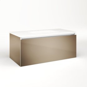 """Cartesian 36-1/8"""" X 15"""" X 18-3/4"""" Single Drawer Vanity In Satin Bronze With Slow-close Full Drawer and Night Light In 5000k Temperature (cool Light)"""