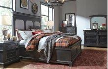 Townsend Upholstered Platform Bed w/Storage Ftbd, Queen 5/0