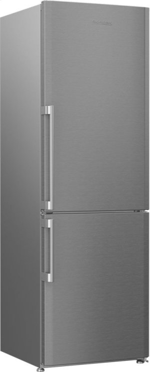"24"" 13 cu ft bottom freezer fridge with internal ice maker, stainless"