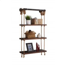 "Armen Living 24"" Brannon Modern Pine Wood Floating Wall Shelf in Gray and Walnut Finish"