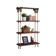 "Armen Living 24"" Brannon Modern Pine Wood Floating Wall Shelf in Gray and Walnut Finish"