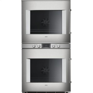 "Gaggenau400 series 400 series double oven Stainless steel-backed full glass door Width 30"" (76 cm) Left-hinged Controls centered"