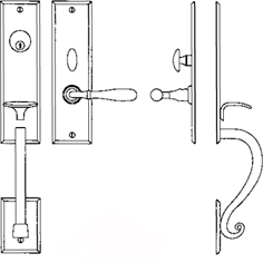 """Entrance Handle Set - Complete single cylinder set for 1 3/4"""" door"""