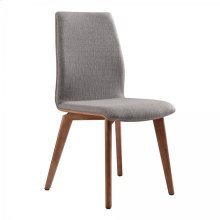 Armen Living Archie Mid-Century Dining Chair in Walnut Finish and Gray Fabric - Set of 2